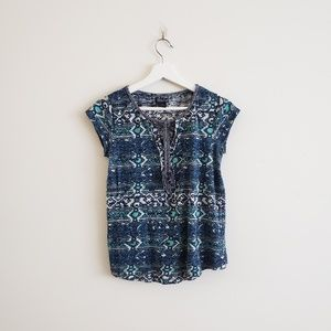 Lucky Brand Blue turquoise patterned top W/tassel